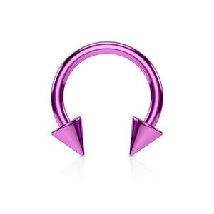 Piercing do nosu z oceli s titanovou úpravou - lesklá podkova ve fialovém barevném odstínu - Rozměr: 1,6 mm x 10 mm x 4x4 mm