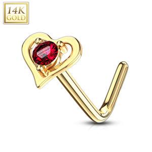 Piercing do nosu ze 14K žlutého zlata - červený kulatý zirkon, zahnutý konec, tvar srdce