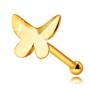 Piercing do nosu ze 14K žlutého zlata - motýl s plochým povrchem a mírně zahnutými křídly