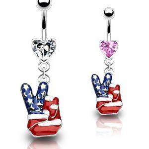Piercing do pupíku - americký mír - Barva piercing: Růžová