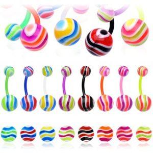 Piercing do pupíku - barevné vlnky - Barva piercing: Růžová