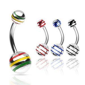 Piercing do pupíku kulička s barevnými pásky - Rozměr: 10 mm x 8 mm, Barva zirkonu: Modrá - B