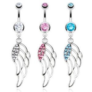 Piercing do pupíku z chirurgické oceli - barevná vyřezaná křídla - Barva zirkonu: Růžová - P
