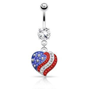 Piercing do pupíku z oceli 316L, zirkonové srdce s motivem americké vlajky