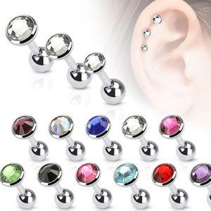 Piercing do ucha z oceli, kulatá objímka s barevným zirkonem, 3 mm - Barva zirkonu: Duhová - AB