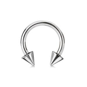 Piercing stříbrné barvy z chirurgické oceli - podkova ukončená hroty, tloušťka 2 mm - Rozměr: 2 mm x 12 mm x 5x5 mm