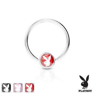 Piercingový kroužek z chirurgické oceli stříbrné barvy, kulička se zajíčkem Playboy - Tloušťka x průměr: 1,6 mm X 12 mm, Barva piercing: Červená