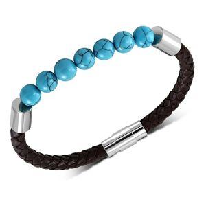 Pletený tmavohnědý náramek ze syntetické kůže, kuličky v modrém odstínu