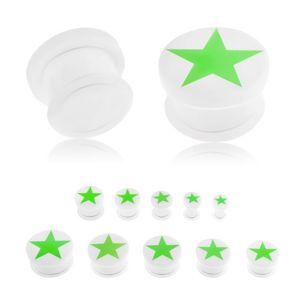 Plug do ucha z akrylu bílé barvy, zelená pěticípá hvězda zářící ve tmě, gumička - Tloušťka : 6 mm
