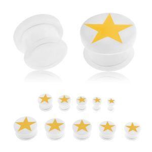 Plug do ucha z akrylu bílé barvy, žlutá pěticípá hvězda, gumička - Tloušťka : 3 mm