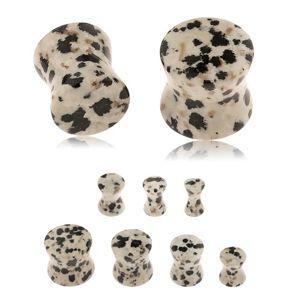 Plug do ucha z jaspisu dalmatinského, šedohnědý odstín, černé a hnědé skvrny - Tloušťka : 5 mm