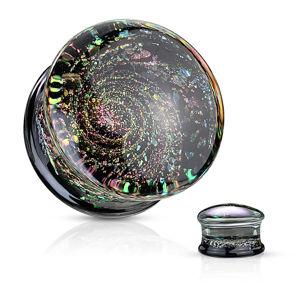 Plug ze skla - černá spodní část s vícebarevnými třpytkami, motiv vesmíru - Tloušťka : 14 mm