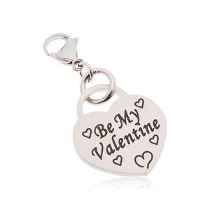 Přívěsek na klíčenku, chirurgická ocel, srdce s nápisem Be My Valentine