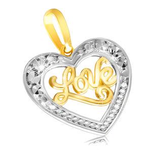 """Přívěsek v 9K zlatě - lesklé souměrné srdíčko s nápisem """"Love"""""""