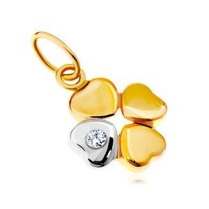 Přívěsek ve 14K zlatě - dvoubarevný čtyřlístek pro štěstí, čirý zirkon