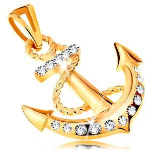 Přívěsek ve žlutém 14K zlatě - lodní kotva s obtočeným lanem a zirkony