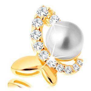 Přívěsek ve žlutém 14K zlatě - nesouměrný motýl se zirkonovou polovinou a perlou