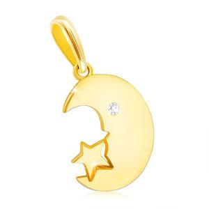 Přívěsek ve žlutém 9K zlatě - měsíček s čirým zirkonem, drobná hvězdička