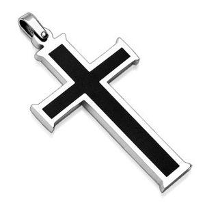 Přívěsek z chirurgické oceli - kříž s černým středem