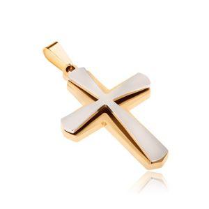 Přívěsek z chirurgické oceli, zlatý a menší stříbrný kříž