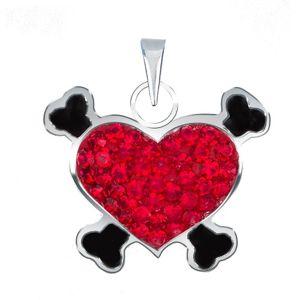 Přívěsek ze stříbra 925 - červené pirátské srdce se zirkony