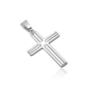 Přívěsek ze stříbra 925 - kříž s vroubky na cípech