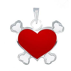Přívěsek ze stříbra 925 s červeným pirátským srdcem
