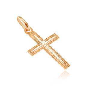 Přívěsek ze zlata 14K - latinský třpytivý křížek s úzkým zářezem