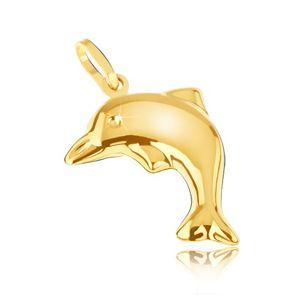 Přívěsek ze žlutého 14K zlata - trojrozměrný blyštivý delfín ve výskoku