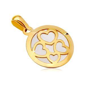 Přívěsek ze žlutého zlata 585 - kruh vyplněný bílou perletí, obrysy čtyř srdcí
