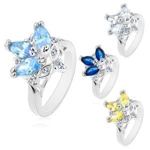 Prsten s lesklými zúženými rameny, barevná broušená zrnka, čiré zirkony - Velikost: 54, Barva: Čirá