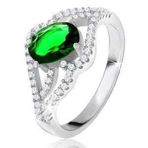 Prsten s oválným zeleným kamenem, zvlněná zirkonová ramena, stříbro 925 - Velikost: 60