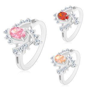 Prsten s rozdělenými rameny, barevný ovál, čiré spirálovité linie - Velikost: 49, Barva: Oranžová