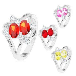 Prsten s rozdělenými rameny, dva barevné ovály, čiré zirkonky - Velikost: 50, Barva: Žlutá