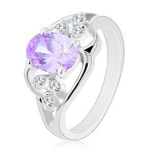 Prsten s rozdělenými rameny, zvlněné linie, světle fialový oválný zirkon - Velikost: 51