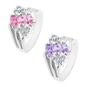 Prsten s rozvětvenými rameny, zdobený čirými zirkony a barevnými zrnky - Velikost: 52, Barva: Světle fialová