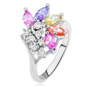 Prsten s větvičkou s čirými a barevnými zrníčkovitými kamínky - Velikost: 51