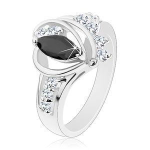Prsten stříbrné barvy, černé zirkonové zrnko, lesklé oblouky, čiré zirkonky - Velikost: 52