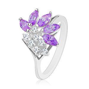 Prsten stříbrné barvy, čiré zirkony, zrnka ve fialovém odstínu - Velikost: 51