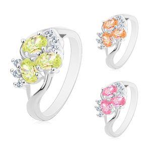Prsten stříbrné barvy, rozdělená ramena, barevné ovály, čiré zirkonky - Velikost: 53, Barva: Růžová