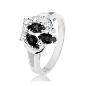Prsten stříbrné barvy, rozdvojená ramena, černá zrnka, čiré kulaté zirkony - Velikost: 52