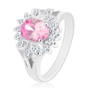 Prsten stříbrné barvy, růžový zirkonový ovál, čirý lem, lístečky - Velikost: 52