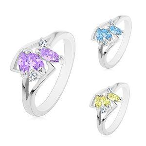 Prsten stříbrné barvy, tři barevná broušená zrnka, rozdělená ramena - Velikost: 53, Barva: Světle žlutá