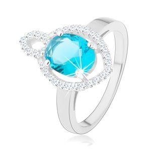 Prsten, stříbro 925, oválný světle modrý zirkon s čirým lemem, obrys zrnka - Velikost: 49