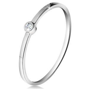 Prsten v bílém 14K zlatě - blýskavý čirý briliant v lesklé objímce, tenká ramena - Velikost: 51