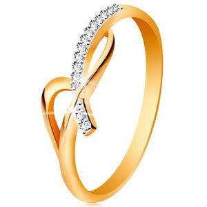 Prsten ve 14K zlatě - asymetricky propletená ramena, kulaté čiré zirkony - Velikost: 58