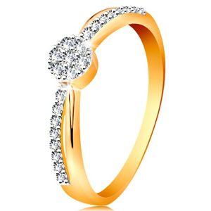 Prsten ve 14K zlatě - překřížené dvoubarevné linie ramen, kulatý zirkonový kvítek - Velikost: 56