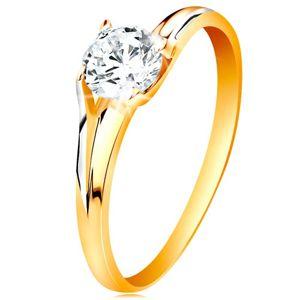 Prsten ve 14K zlatě - třpytivý čirý zirkon v lesklém vyvýšeném kotlíku - Velikost: 54