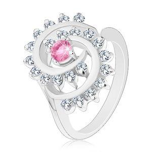 Prsten ve stříbrné barvě, spirála s čirým lemem, růžový kulatý zirkon - Velikost: 50