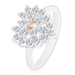 Prsten ve stříbrném odstínu, čiré zirkonové srdce s oranžovým středem - Velikost: 53